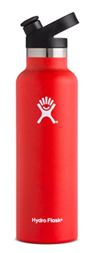 Hydro Flask 21 oz Water Bottle | Stainless Steel & Vacuum Insulated | Standard Mouth with Sport Cap | Lava