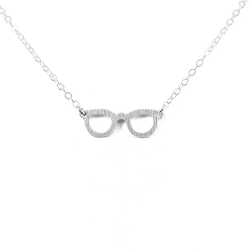 Glasses SILVER Plated Necklace Trendy Dainty Spectacles Eyesight - Glsses Eye