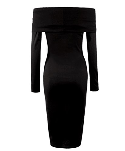 Off Shoulder Bandeau Long Sleeve Ruched Wrap Fitted Stretch Knee-Length Solid Color Sexy Go Out Clubbing Dresses Black X-Large For Lady