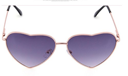 Genluna Vintage Metal Love Heart Shaped Sunglasses Free Gold-Purple by Genluna
