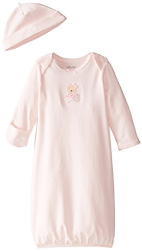 Little Me Baby Girls' Gown and Hat Set, Light Pink Bear, 0-3 Months (Baby Doll Nightgown For Girls)