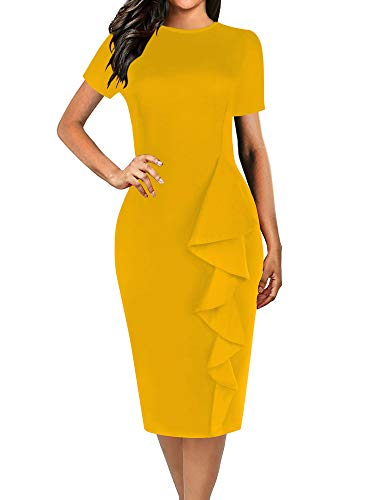 oxiuly Women's Elegant Petal Hem Tunic Slim Stretchy Work Casual Pencil Midi Dress OX055 (L, Yellow Solid)