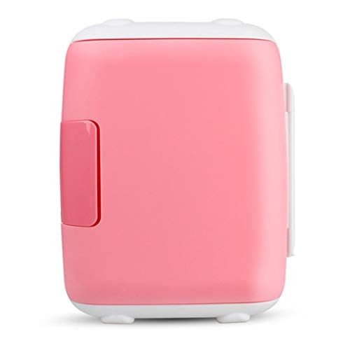 WUS 5L Mini Fridge,Car and Home Use Freezer,Cooling and Heating Single Door Refrigerator,DC 12V,AC 220V,Energy Saving,Silence 25DB,Pink