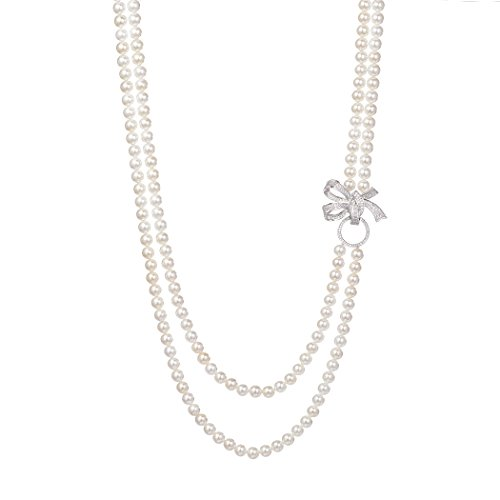 Romantic Time Bowknot Brooch Double Row Strand Long Shell Pearl Necklaces