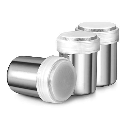 (Accmor Stainless Steel Powder Shakers, Powder Shaker with Lid,Chocolate Shaker, Sifter For Sugar Pepper Powder Cocoa Flour, 3 Pcs)