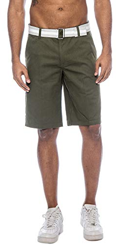 TR Fashion Men's Bahamas Belted Walking Shorts (Dark Olive, 36) ()