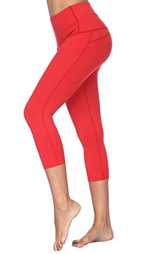 (X-Fit High Waist Yoga Pants Compression Workout Leggings(Capri-Red, S))