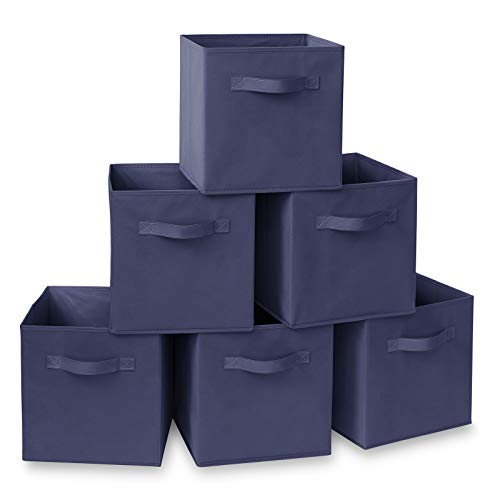 (Casafield Set of 6 Collapsible Fabric Cube Storage Bins, Navy Blue - 11