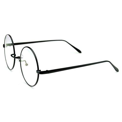 PenSee Circle Oversized Metal Eyeglasses Frame Inspired Horned Rim Clear Lens Glasses (Black)