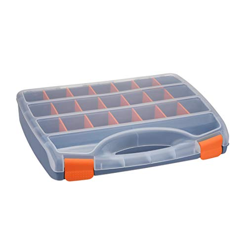 (uxcell 15-inch Tool Box, Plastic Tool Box with Tray and Organizers Includes Removable 23 Small Parts Boxes)