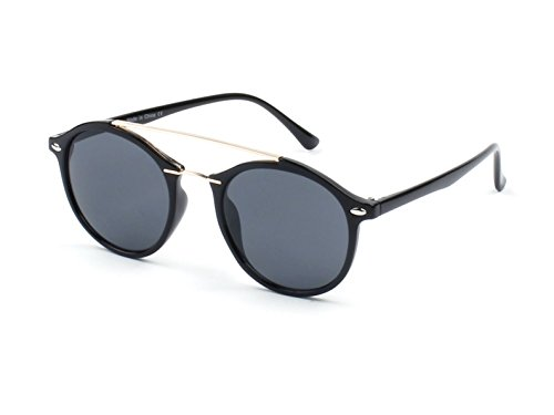Cramilo E17 Modern Metal Browbar Round P3 Sunglasses (Black - Black, - Men Modern For Sunglasses