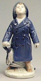 Royal Copenhagen Figurine, Boy with Umbrella (Copenhagen Animal Royal)
