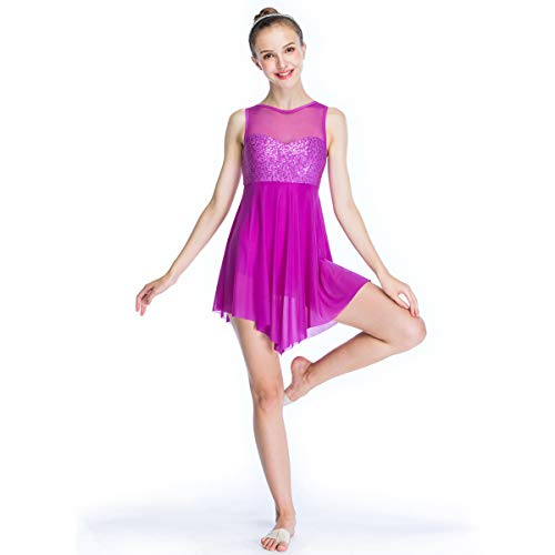 MiDee Lyrical Dress Dance Costume Illusion Sweetheart Sequines Tank Top Trianglar Skirt (IC, Magenta)
