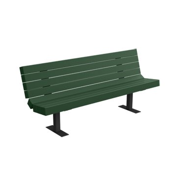 6' Recycled Plastic Heavyweight Bench - Surface Mount - Evergreen (6' Recycled Plastic Table)