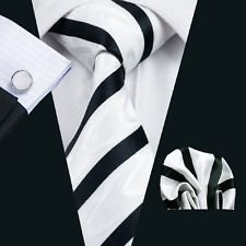 Dan Smatree White Black Necktie Mens Business Formal Jacquard 007 Tie (Dice Costumes)