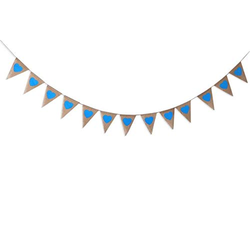 (Tag Heart - Photo Props Wedding Decoration Party Blue Heart Shape Hessian Bunting Banner Rustic - Color Mexican Crowns Tablecloths Light Supplies Minnie Casino Gold Animals Mouse Princess Deco)