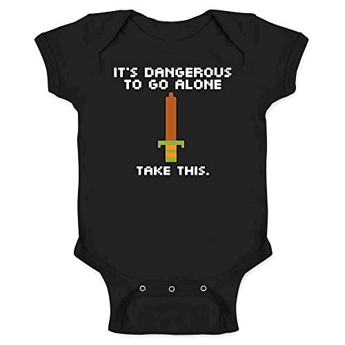 Pop Threads It's Dangerous to Go Alone Take This 8 Bit Gaming Black 12M Infant Bodysuit -