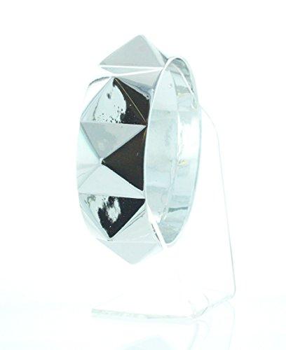 (eSmart Fashion Silver Pyramid Spikes Metal Chunky Punk Rock Adjustable Bracelet)