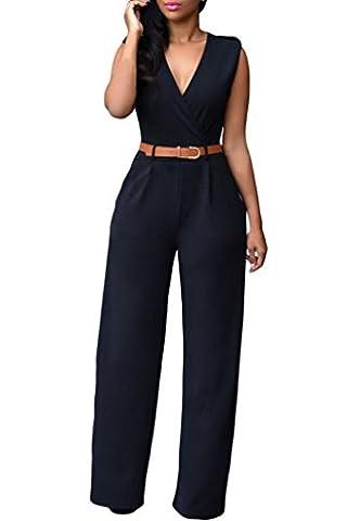 HOTAPEI Women V Neck Belted Sleeveless Wide Leg Jumpsuit Small Black