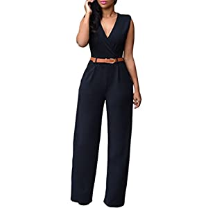 HOTAPEI Women V Neck Belted Sleeveless Wide Leg Jumpsuit