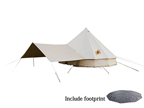DANCHEL 100% Cotton Bell Tent 500 with Awning and Two Stove Jacket