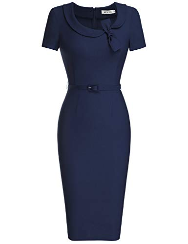 MUXXN Lady's Sailor Collar Retro 50's Style Wedding Guest Bodycon Dress (L Blue)