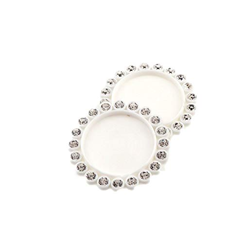 ihuoshang 50 Pcs 30mm Inner 20mm Mix Round Resin Flatback Base Setting Rhinestone Base Frame Setting Accessory,White