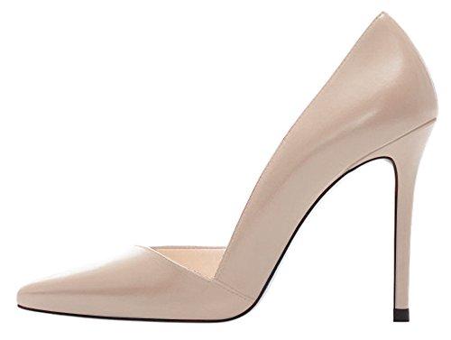 DYF Zapatos de color sólido de gran tamaño fino afilado tacón boca superficial, 10cm,color albaricoque,43