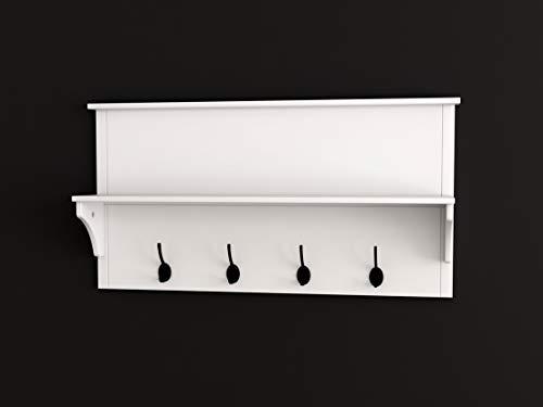 White Finish Entryway Coat Rack Mail Envelope Storage and 4 Key Holder Hooks
