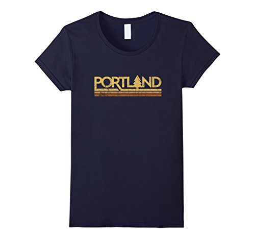 Womens Retro Vintage Portland Oregon T Shirt Medium Navy