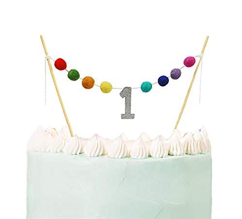 ALIVELY First Birthday Banner Cake Topper - Handmade Happy Birthday Felt Ball Garland Decoration - 1st Birthday Cake Bunting Topper with Glitter ONE (Colorful) (Birthday Cake Bunting 1st)