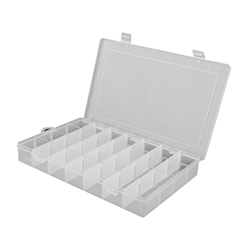 FENICAL Clearn Plastic Jewelry Organizer Box 28Grid Storage