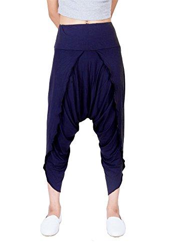 Lofbaz Pantalones mujer Yoga y Pilates Harem Por ideal para Ejercicios y Baile Azul oscuro