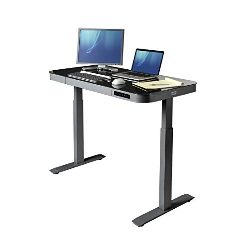Seville Classics AIRLIFT Tempered Glass Electric Standing Desk with Drawer, 2.4A USB Ports, 3 Memory Buttons Max. Height 47 Dual Motors, Gray with Black Top