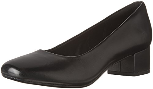 CLARKS Women's Chartli Rose Dress Pump, Black Leather, 9 M US