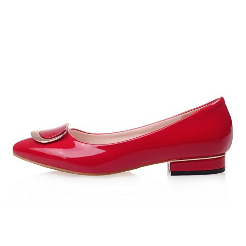 AllhqFashion Womens Low Heels Solid Pull On Pointed Closed Toe Pumps-Shoes Red sYIUVu