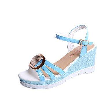 RUGAI-UE Moda de Verano Mujer sandalias casuales zapatos de tacones PU Confort,Blanca,US8.5 / UE39 / UK6.5 / CN40 Blue