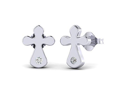 Gold Unisex Diamond Cross - Fehu Jewel 0.03cts Natural Diamond 10k Gold Stud Cross Earrings For Women (white-gold)