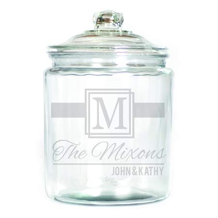 (Engraved Glass Half Gallon Canister - Personalized - Name and Monogram)