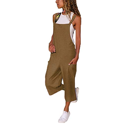 (NEARTIMEWomen Sleeveless Jumpsuits-2019 Summer New Dungarees Loose Cotton Linen Long Party Playsuit with Pockets)