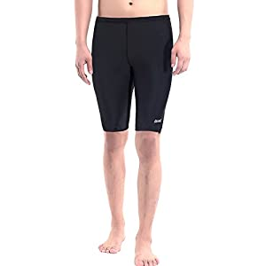 Aegend Men's Durable Solid Swim Jammers Soft Comfortable Fit Swimsuit Quick Dry Swimwear with Inner Elastic Waist Band, Black