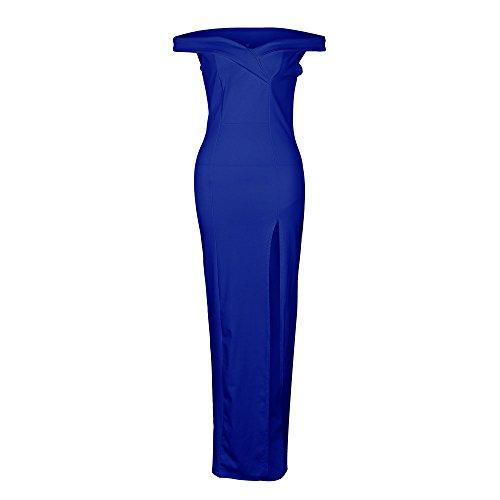 XINGMU Vestido De Manga Corta con Cuello En V Vestido Vestido De Mujer Vestido De Otoño Blue