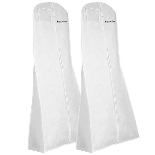 "ElegantPark White 70"" Long Garment Bag Dress Covers Clothes Storage Bag Hanging for Prom Gown Bridal Wedding Dress Protector Breathable Nonwovens with Pocket Zipper 2 Pcs"