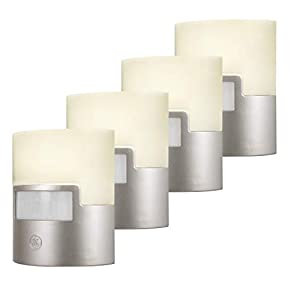 GE Silver LED Night Light, 4 Piece, Motion Sensor, 40 Lumens, Plug-in, Soft White, UL-Listed, Ideal for Bedroom, Nursery, Bathroom, 47231, 4 Piece, 4 Piece