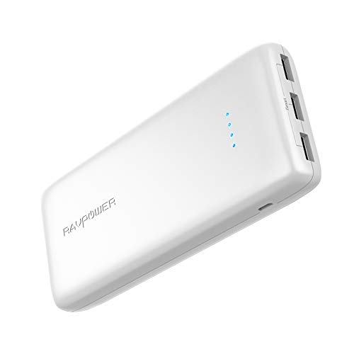 Portable Charger RAVPower 22000mAh External Battery Pack 22000 Power Banks 5.8A Output 3-Port (2.4A Input, iSmart 2.0 USB Ports, Li-Polymer Phone Charger) for Smartphone Tablet -White