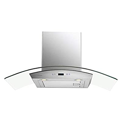 "CAVALIERE 36"" Inch Glass Canopy Wall Mounted Stainless Steel Range Hood"
