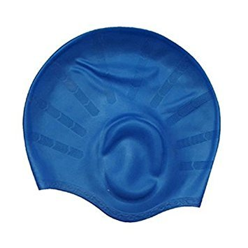 AURION SWIM CAP2525 Swimming Kit with Ear Protection Cap  Blue