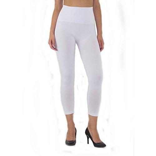 Women's Capri High Waist Band Tummy Compression Control Yoga Pants Leggings White Small Medium