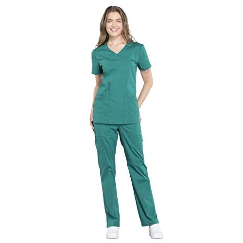 Cherokee Workwear Professionals Womens Scrub Set WW655 Mock Wrap Top /& WW160 Mid Rise Straight Leg Drawstring Pant