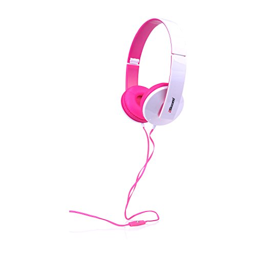 2BOOM Solo Note Digital Over Ear Wired Headphone Foldable Stereo Hands Free Microphone Headset Pink